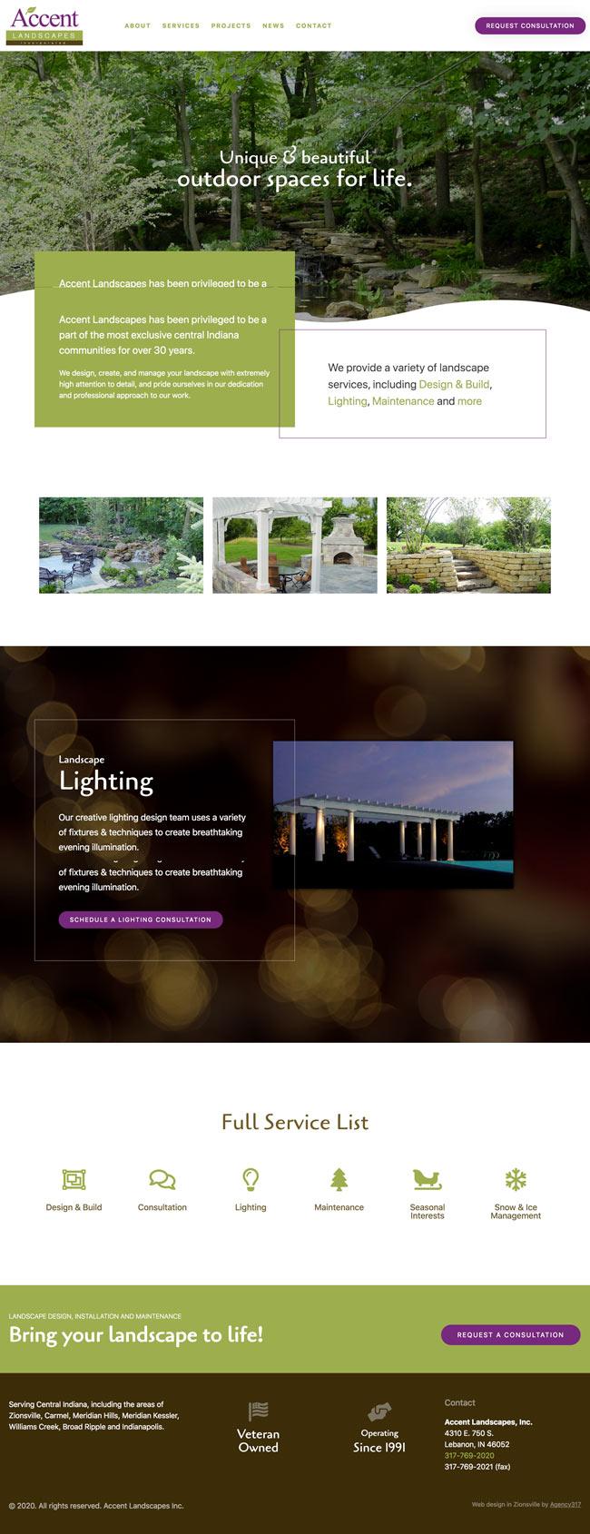 Homepage Web Design - Accent Landscapes