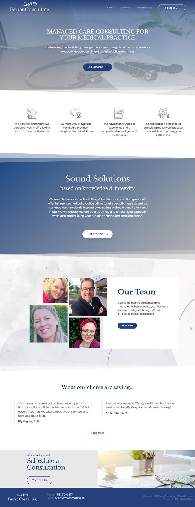 Web Design - Homepage Mockup for Farrar Consulting