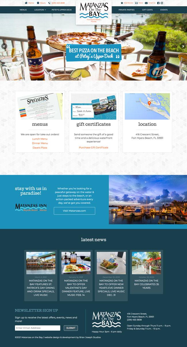 Homepage design - Matanzas on the Bay