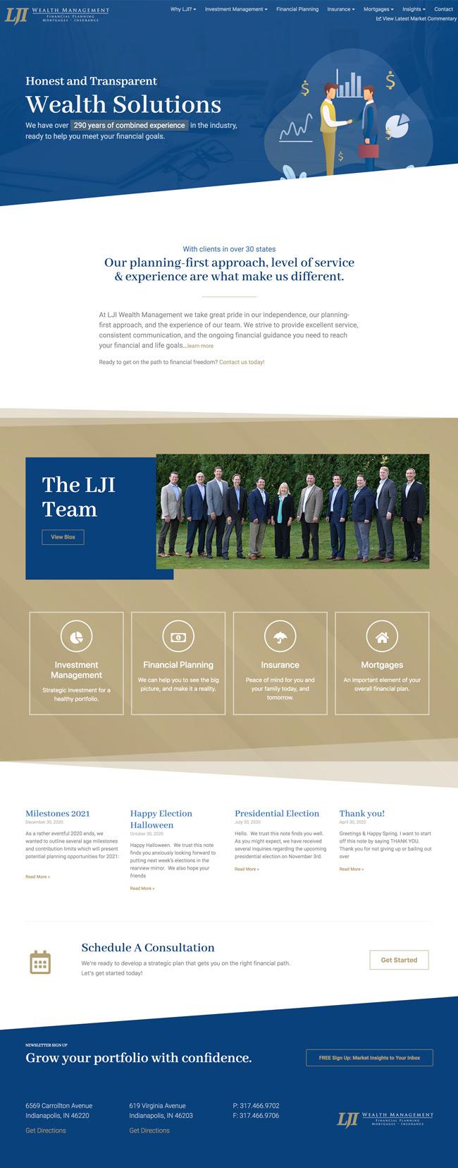 Website design - LJI Homepage